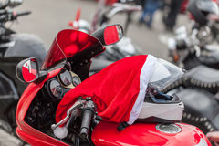 Motorcycle of Santa Claus Stock Photo