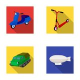 Motorcycle, scooter, armored personnel carrier, aerostat types of transport. Transport set collection icons in flat Royalty Free Stock Photography