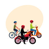 Motorcycle, scooter and bicycle drivers, riders wearing helmet, side vew Royalty Free Stock Images