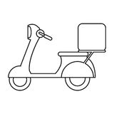 Motorcycle scooter delivery food outline Royalty Free Stock Photos