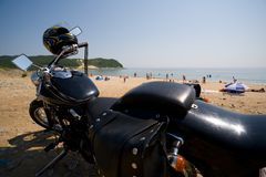 Motorcycle & sea Stock Photo