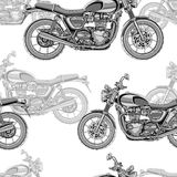 Motorcycle seamless pattern, vector background. Monochrome illustration. Black and white motorcycles with many details. On a white background. For wallpaper Royalty Free Stock Photo