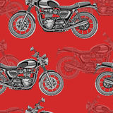 Motorcycle seamless pattern, vector background. Monochrome illustration. Black and white motorcycles with many details. On a red background. For wallpaper Stock Photography