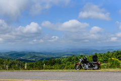 Motorcycle at senic outlook. Motorcycle parked on the blue ridge parkway Royalty Free Stock Photo