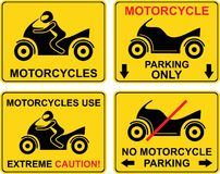 Motorcycle - set of road sign. Stock Photos