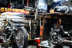 Motorcycle Set for Tuning in Customizing Shop Royalty Free Stock Images