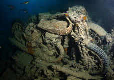 Motorcycle in shipwreck Royalty Free Stock Photography
