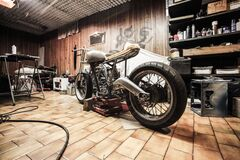 Motorcycle in shop