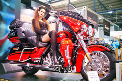 Motorcycle show. KIEV, UKRAINE - MARCH 13, 2016:  Harley-Davidson motorcycle with unidentified model on display at MotoBike 2016 Motor Show in Kiev, Ukraine Royalty Free Stock Image