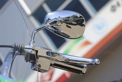 Motorcycle side mirror. handle and rear view mirror of motorcycle. Royalty Free Stock Images