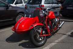Motorcycle with sidecar, Moto Guzzi V7 Royalty Free Stock Photo