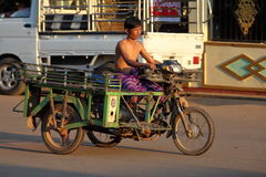 Motorcycle with a sidecar in Myanmar Stock Images