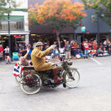 Motorcycle and Sidecar, Veteran`s Day Parade Stock Image
