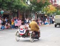 Motorcycle and Sidecar, Veteran`s Day Parade Royalty Free Stock Photography