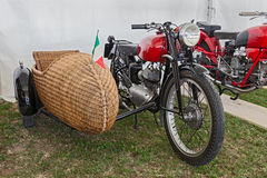 Motorcycle with sidecar of wicker Royalty Free Stock Images