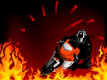 Motorcycle. Silhouette of motobiker and speedometer in the flames Royalty Free Stock Photos