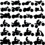 Motorcycle Silhouettes. 24 Black Motorcycle Silhouettes both with and without riders Royalty Free Stock Photo