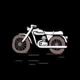 Motorcycle. Simply hand drawn motorcycle silhouette on black background Stock Photos
