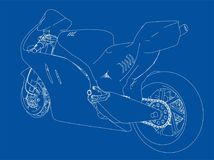 Motorcycle sketch. Vector. Rendering of 3d. The layers of visible and invisible lines are separated Stock Photography