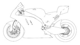 Motorcycle sketch. Vector. Rendering of 3d. The layers of visible and invisible lines are separated Royalty Free Stock Image