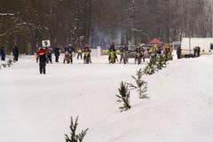 Motorcycle skijoring racers prepare for ride. KLASTEREC NAD ORLICI, CZECH REPUBLIC - JANUARY 29: Motorcycle skijoring racers prepare for ride on January 29, 2017 Royalty Free Stock Image