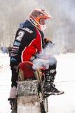Motorcycle skijoring racers prepare for ride. KLASTEREC NAD ORLICI, CZECH REPUBLIC - JANUARY 29: Motorcycle skijoring racers prepare for ride on January 29, 2017 Stock Photo