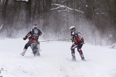 Motorcycle skijoring racers ride on track of Czech championship competition 2017 in Klasterec nad Orlici, Czech republic Royalty Free Stock Images