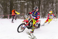 Motorcycle skijoring racers ride on track of Czech championship competition 2017 in Klasterec nad Orlici, Czech republic Royalty Free Stock Image