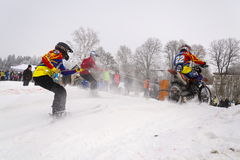 Motorcycle skijoring racers ride on track of Czech championship competition 2017 in Klasterec nad Orlici, Czech republic Stock Image