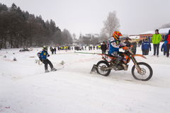 Motorcycle skijoring racers ride on track of Czech championship competition 2017 in Klasterec nad Orlici, Czech republic Stock Photos