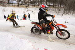 Motorcycle skijoring racers ride on track of Czech championship competition 2017 in Klasterec nad Orlici, Czech republic Stock Photo