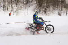 Motorcycle skijoring racers ride on track of Czech championship competition 2017 in Klasterec nad Orlici, Czech republic Royalty Free Stock Photography