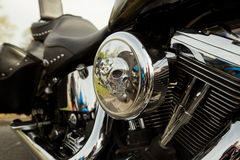 Motorcycle with skull detail Royalty Free Stock Photos