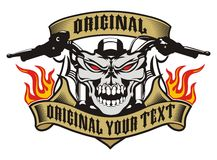 Motorcycle skull emblem fire Royalty Free Stock Photography