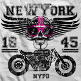 Motorcycle Skull New York Fun Man T shirt Graphic Design Royalty Free Stock Images