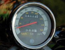 Motorcycle speedometer. On the dashboard Stock Image