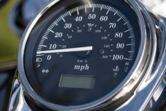 Motorcycle Speedometer. Speedometer on motorcycle with lots of chrome stock photography