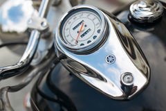 Motorcycle speedometer. Closeup of chromed motorcycle speedometer Stock Photo