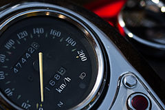 Motorcycle speedometer closeup view. Macro shoot. Stock Photo
