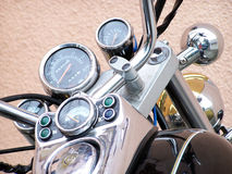 Motorcycle Speedometer & Front Bars. A chrome motorcycle speedometer Royalty Free Stock Photo