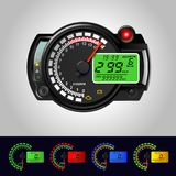LCD Digital Back-ight Motorcycle Speedometer Tachometer Odometer MotorBike Instrument Scooter Dirt bike stock illustration
