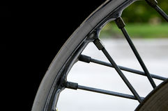 Motorcycle spokes, rim and tire Stock Photography