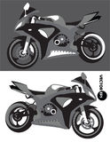 Motorcycle, sports body kit, monochrome vector isolated on black and white background. Motorbike. Sportbike. Transport Royalty Free Stock Image