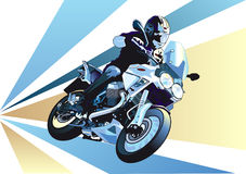 Motorcycle sprint. A man driving a fast motorcycle Royalty Free Stock Photos