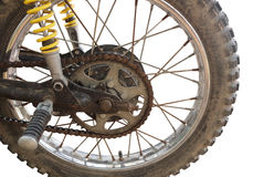 Motorcycle sprocket and chain. On white background Royalty Free Stock Images