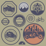 Motorcycle stamp or label set Stock Image