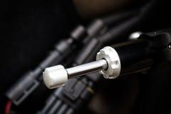Motorcycle steering damper. Color image of a motorcycle steering damper Stock Photography