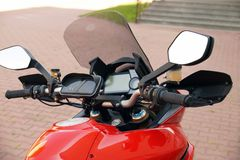 Motorcycle steering wheel with fairing and waterproof case for s royalty free stock photos
