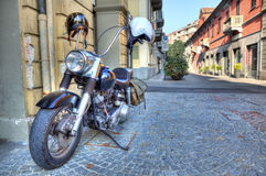 Motorcycle on the street. Alba, Italy. Royalty Free Stock Photo