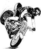 Motorcycle stunt. Stunt on motorcycle black and white illustration Stock Image